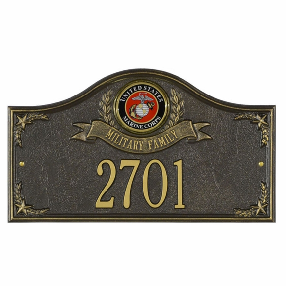 Personalized US Military Family Address Plaque - Choose Army, Navy, Air Force, Coast Guard, and Marines Medallion
