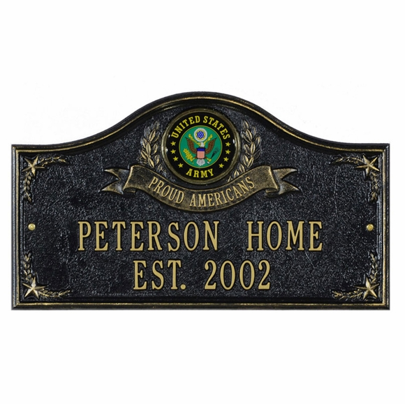 Personalized US Military Proud Americans Address Plaque