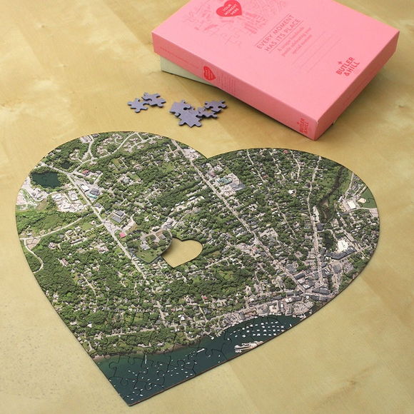 Valentine's Day Personalized Jigsaw Puzzle Heart Shape Aerial Map
