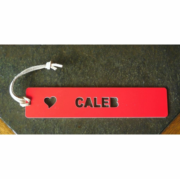Valentine's Day Gift Personalized Bookmark With Heart and Name