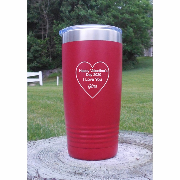 Personalized Tumbler Vacuum Insulated With Heart - Anniversary Gift, Romantic Gift, I Love You