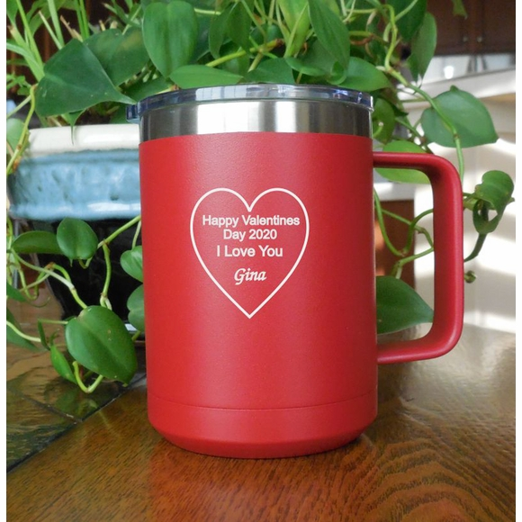 Valentines Day Gift Personalized Coffee Mug - Stainless Steel Insulated Tumbler For Hot and Cold Drinks