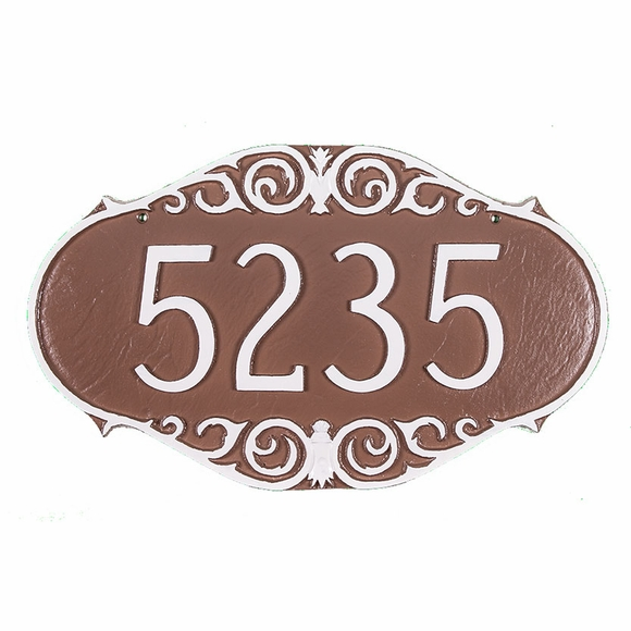 Personalized Victorian Address Plaque Displays Your House Number - For Wall or Optional Lawn Mount
