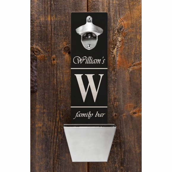 Personalized Wall Mount Bottle Opener Cap Catcher