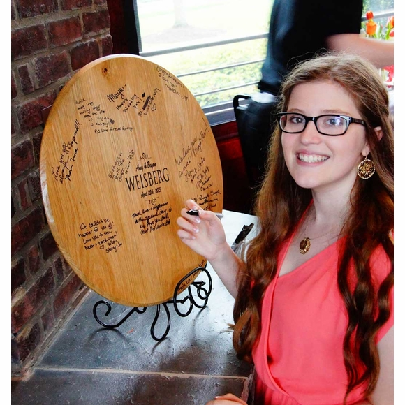 Personalized Wedding Signature Barrel Head with Stand