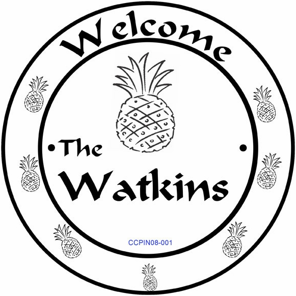Personalized Welcome Sign with Pineapple Border Decoration