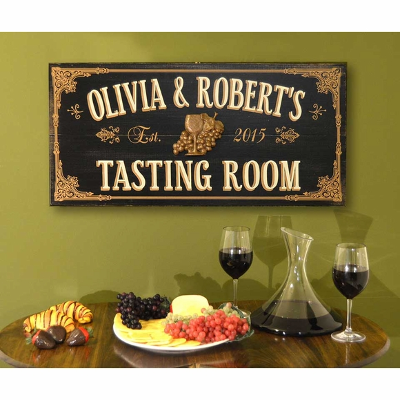 Personalized Wine Tasting Room Sign With Name And Established Date - Vintage Wood Plank Sign With Wine Glass and Grapes In Center
