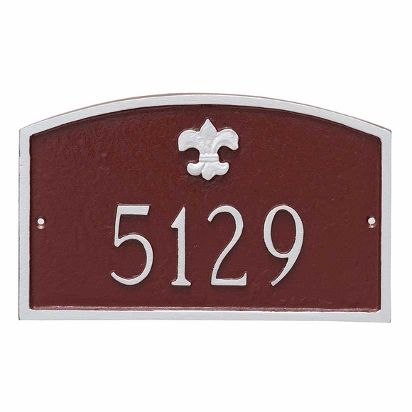 Small Address Plaque with Fleur de Lis For Wall or Optional Lawn Stake Mount