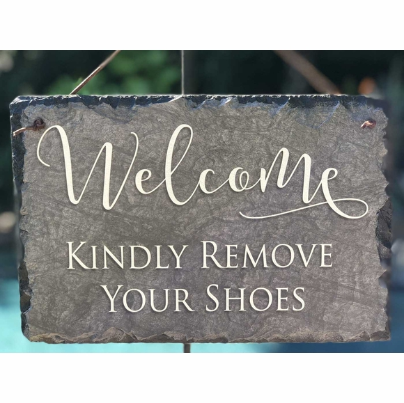 Please Remove Your Shoes Welcome Sign