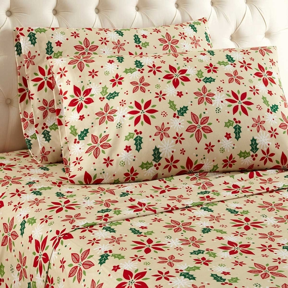 Poinsettia Print Flannel Sheet Set