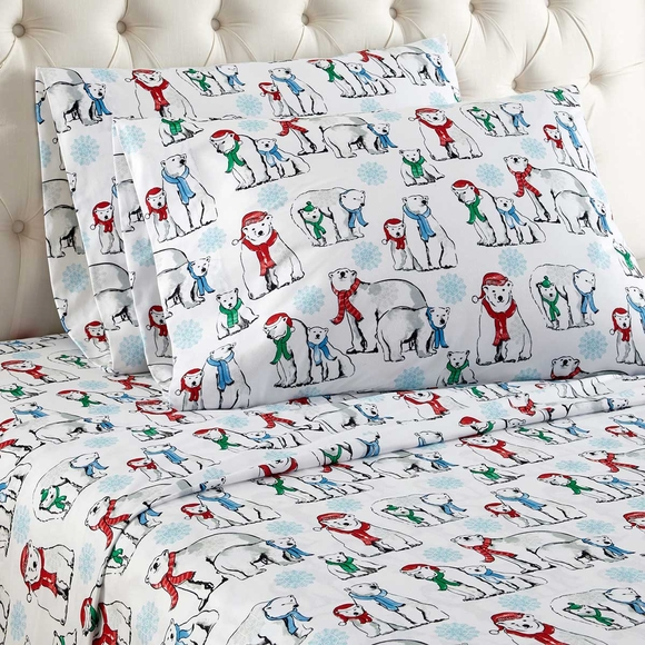 Polar Bear Print Flannel Sheets