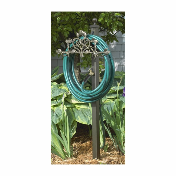 Post Mount Hose Holder Station With Decorative Vine and Faucet