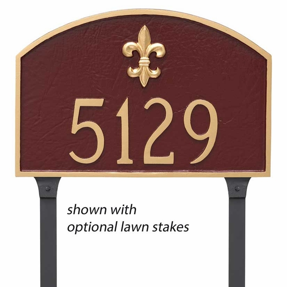 Prestige Arch Address Plaque with Fleur de Lis