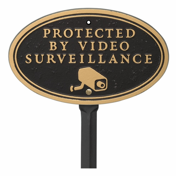 Protected by Video Surveillance Warning Sign with Surveillance Camera Image