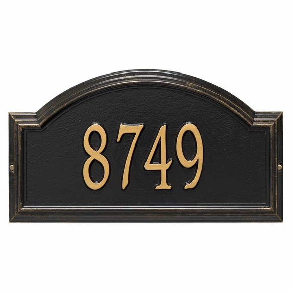 Arch Address Plaque Black with Gold Numbers