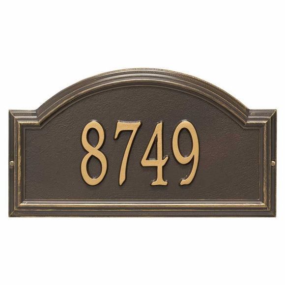 Arch Address Plaque Bronze with Gold Numbers