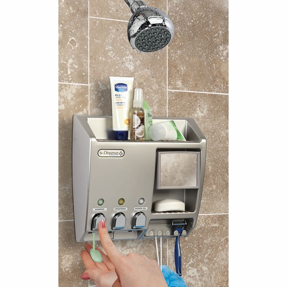 Push Button Shower Shampoo and Soap Dispenser With Mirror And Razor Holder