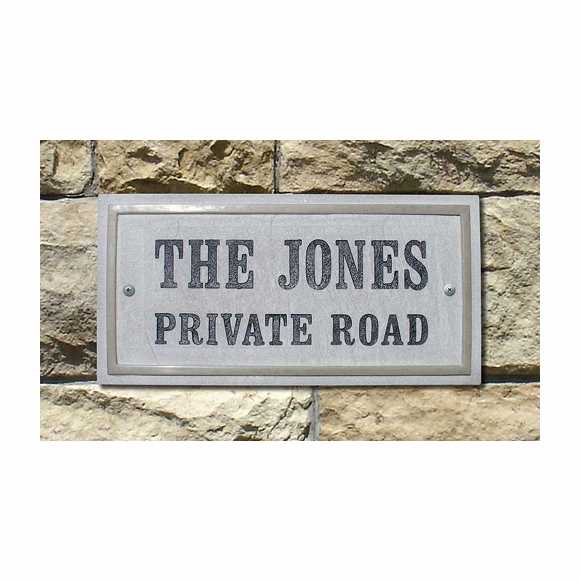 Rectangle Address Plaque or Custom Message Sign Made From Stone and Resin