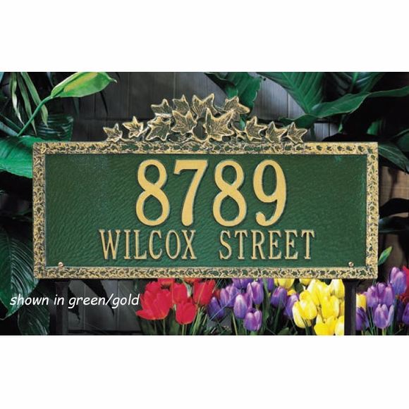 Rectangle Address Plaque with Ivy Top and Border - For Lawn or Wall Mount - Choose Your Size and Color