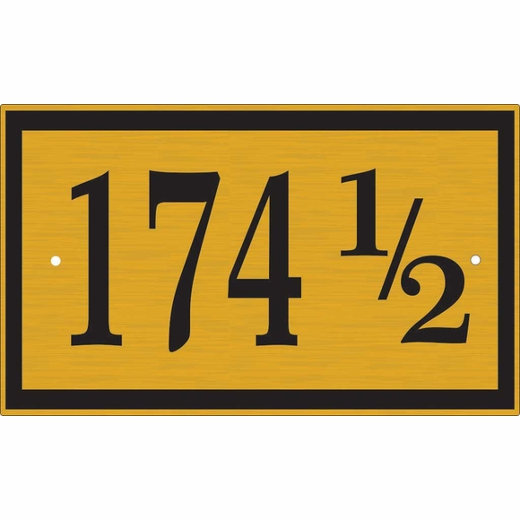 Rectangle House Number Sign with Half Number 1/2