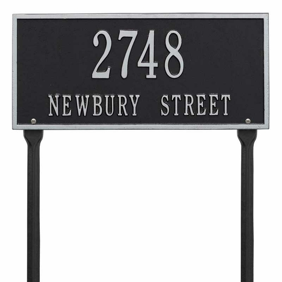 Aluminum Metal Lawn Mount Address Plaque - Rectangle Shape House Number Sign