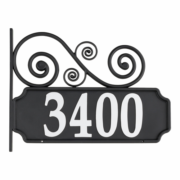 Reflective Address Plaque with Post, Scroll Accent On Top or Bottom