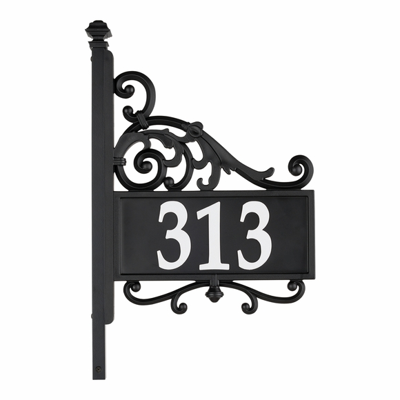 Two Sided Reflective Address Sign with Post, Wrought Iron Look Scrollwork Accents
