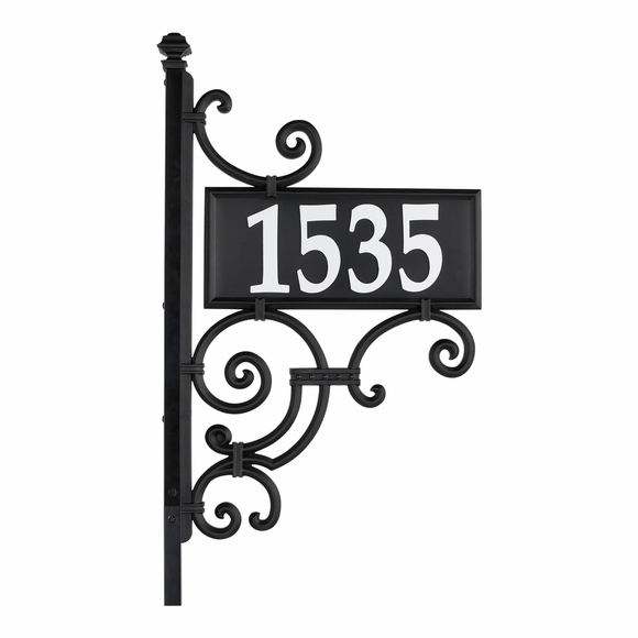 Double Sided Reflective Address Sign with Post, Scrollwork Accents