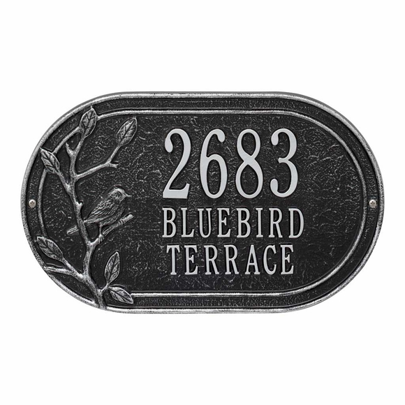 Address Plaque with Bird On Tree Branch