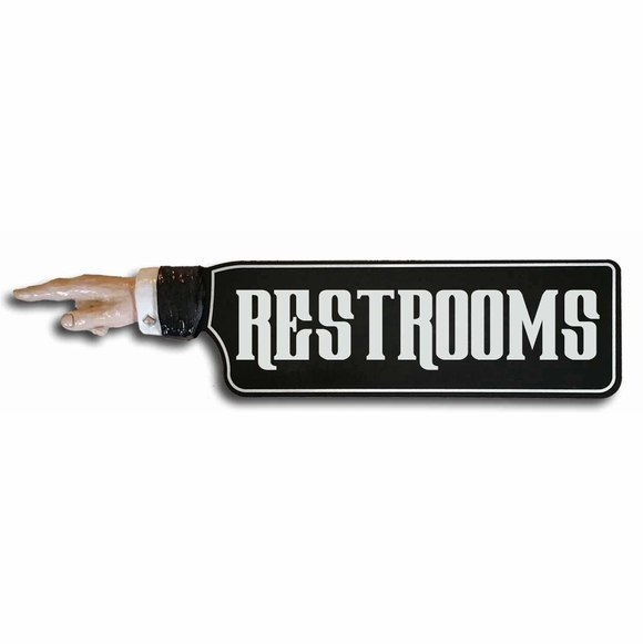 RESTROOMS Direction Sign Arm With Pointing Finger