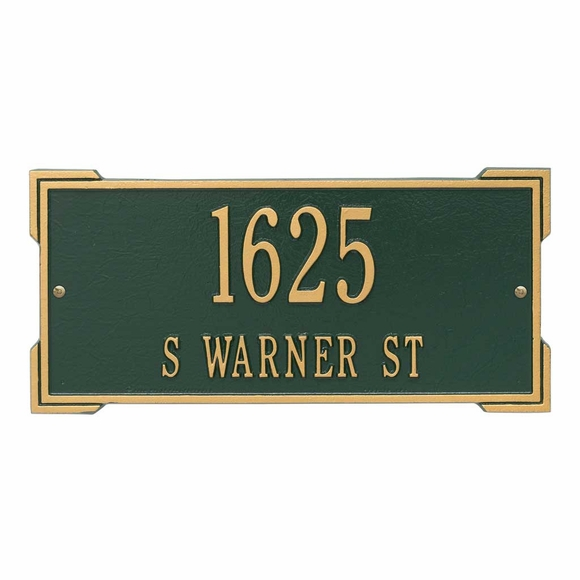 Aluminum Metal Rectangle Address Sign For Wall or Optional Lawn Mount - Choose Your Color