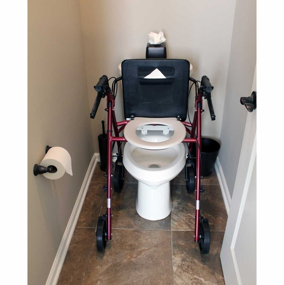 Rolling Walker With Padded Seat and Hidden Toilet Seat - Combination Toilet Safety Frame
