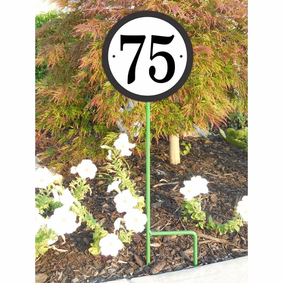 Round Address Number Lawn Plaque