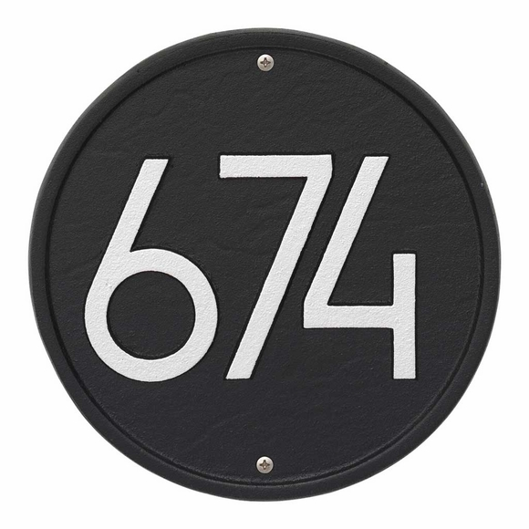 Round Address Plaque - Circular House Number Sign With Modern Font