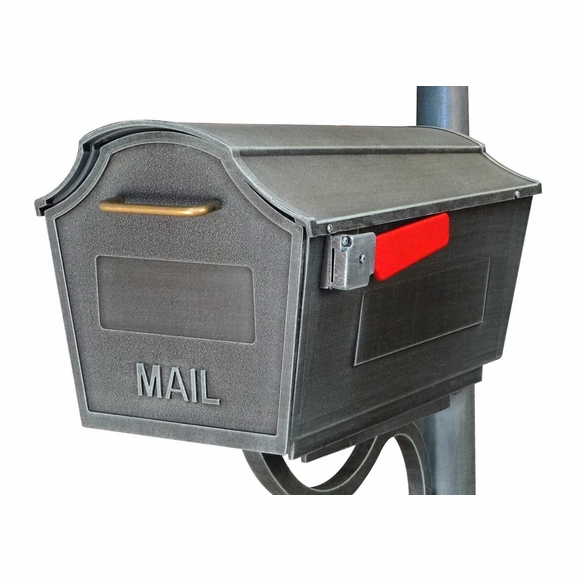 Rural Mailbox with Flag - Swedish Silver Finish