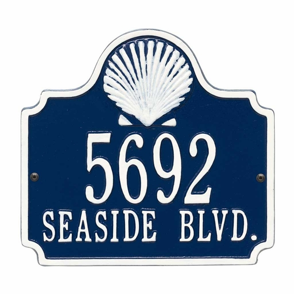 Seashell House Number Plaque - Beach House Address Sign