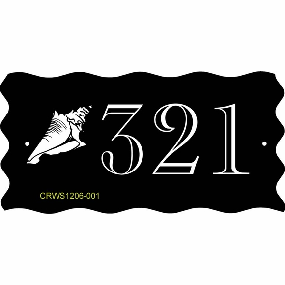 Seashell House Number Plaque With Wave Border - Conch or Scallop Shell