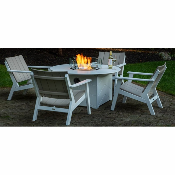 Seaside Casual Aura Round Fire Table