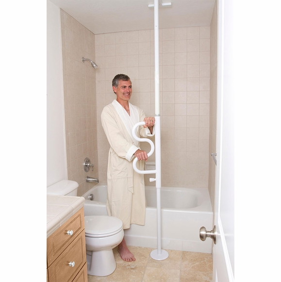 Security Pole with Curve Grab Bar