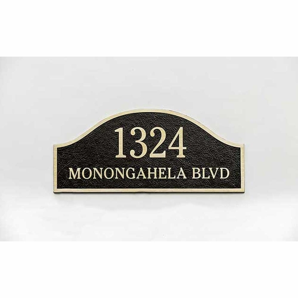 Custom Arch Address Plaque With Leatherette Textured Background For Stud Wall Mount or Lawn Mount