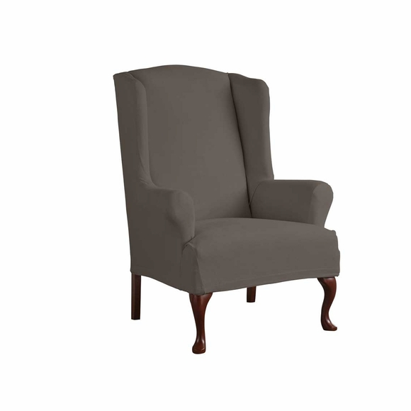 Serta Reversible Microsuede Stretch Fit Slipcover - - Wingback Chair