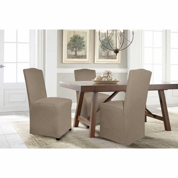 Serta Reversible Stretch Suede Dining Chair Slipcovers Long Skirt
