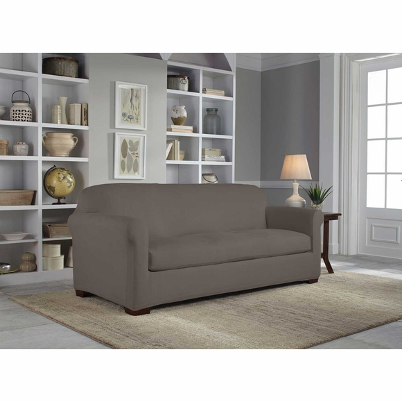 Serta Reversible Stretch Suede Slipcover - 2 Piece Box Sofa