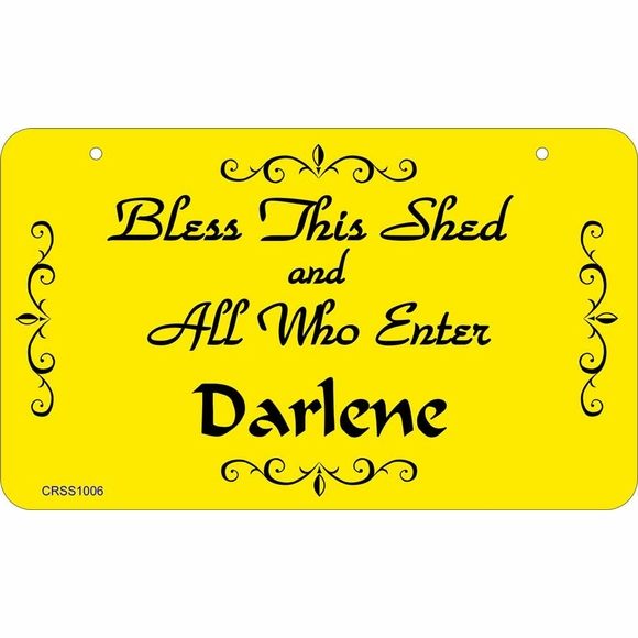She Shed Sign - Bless This Shed and All Who Enter Personalized Name Plaque