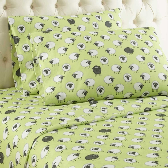 Sheep Print Flannel Sheet Set