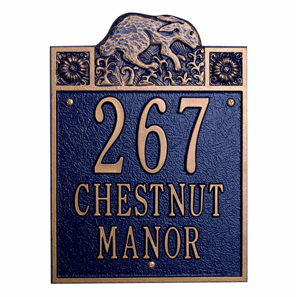Address Plaque With Hare - Rabbit House Number Sign