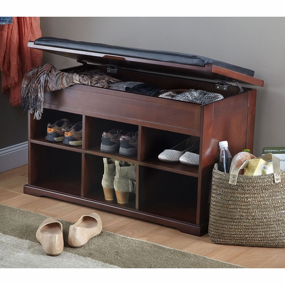 Shoe Storage Bench with Cushion Top