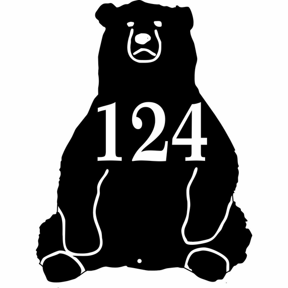 Bear Shape Address Plaque - Personalized Sitting Bear House Number Sign