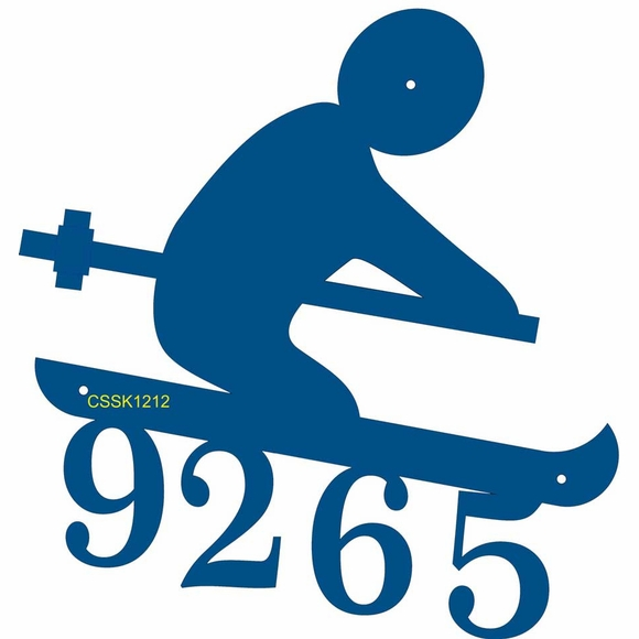 Skier Shape Address Number Sign