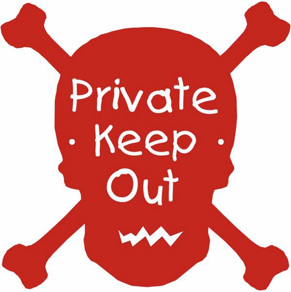 Skull and Crossbones Custom Door Sign - Private Keep Out, Enter At Your Own Risk, or Other Message